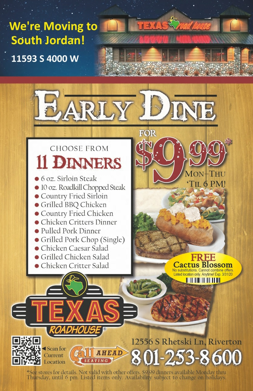 It's just an image of Intrepid Texas Roadhouse Coupons 2020 Printable